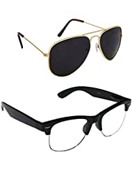 Unisex Uv Protected Combo Pack Of Aviator Sunglasses And Clear HF Wayfarer Sunglasses ( Golden Black - Clear HF...