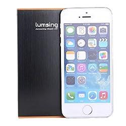 Lumsing® 6000mAh モバイルバッテリー 2USB出力ポート同時充電 iPhone5S 5C 5 4S/iPad Air/Galaxy/Xperia/Android/各種マルチデバイス対応 日本語説明書付 (ブラック)