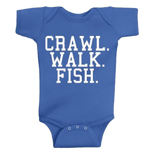 Crawl Walk Fish Baby Body Suit - Funny Baby Clothing For Future Fisherman Royal Blue (12 Month) front-923138