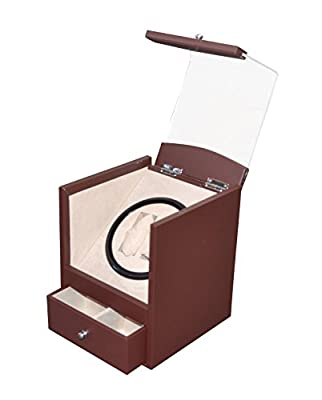 Brand New Brown Leather 2+4 Automatic Rotation Dual / Double Watch Winder Display Storage Box Battery Or Ac/dc Power