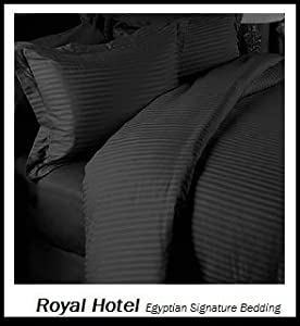 Royal Hotel's Striped Black 300-Thread-Count 4pc California-King Bed Sheet Set and 3pc Duvet-Cover-Sets 100-Percent Egyptian Cotton, Sateen Striped, Deep Pocket, 100% Cotton
