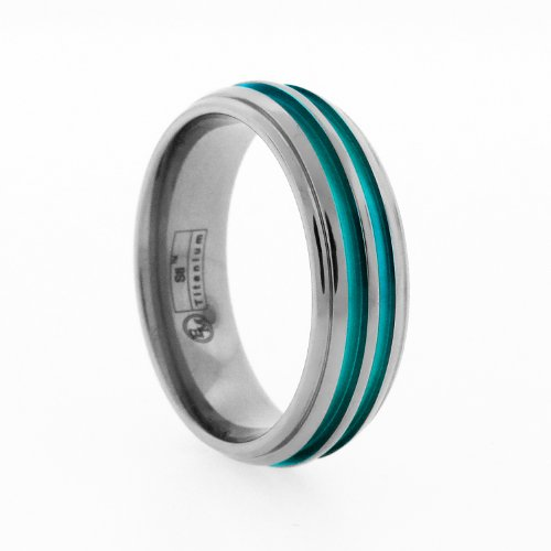 7mm Gray Titanium Dome Ring with Green Anodized Color Inlay, Size 7.5
