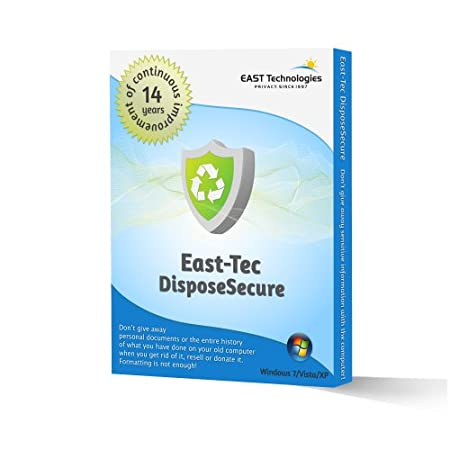 East-Tec DisposeSecure: Safely Delete (Wipe) Data From PC Hard Drives, Disks or Partitions (Includes 5 Sanitizations)