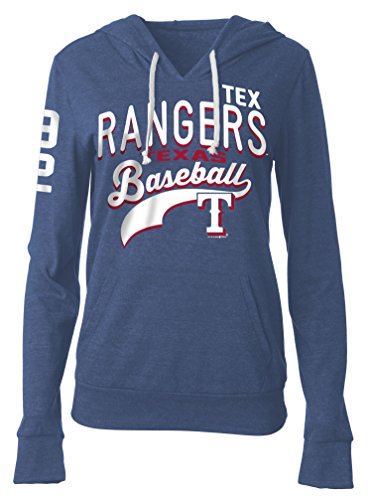 MLB Texas Rangers Women's Tri-Blend Pullover Hoodie with Pouch Pocket, Blue, Large (Texas Rangers Shirts Women compare prices)