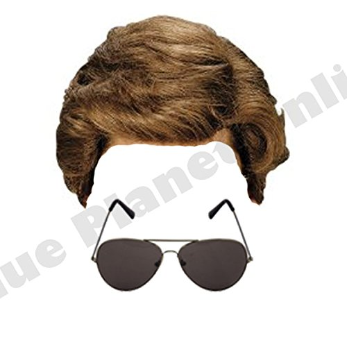 George Michael Wham Wig with Aviator Sunglasses for 1980s Fancy Dress