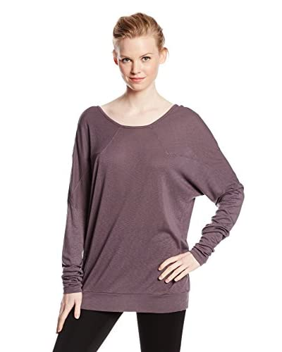 Three Dots Women's Long Sleeve Drop Shoulder Top with Scoop Back