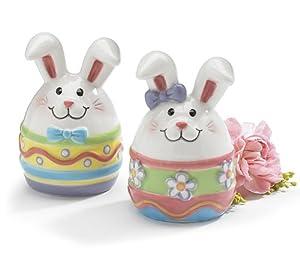 Whimsical Boy & Girl Easter Bunny Salt & Pepper Shakers