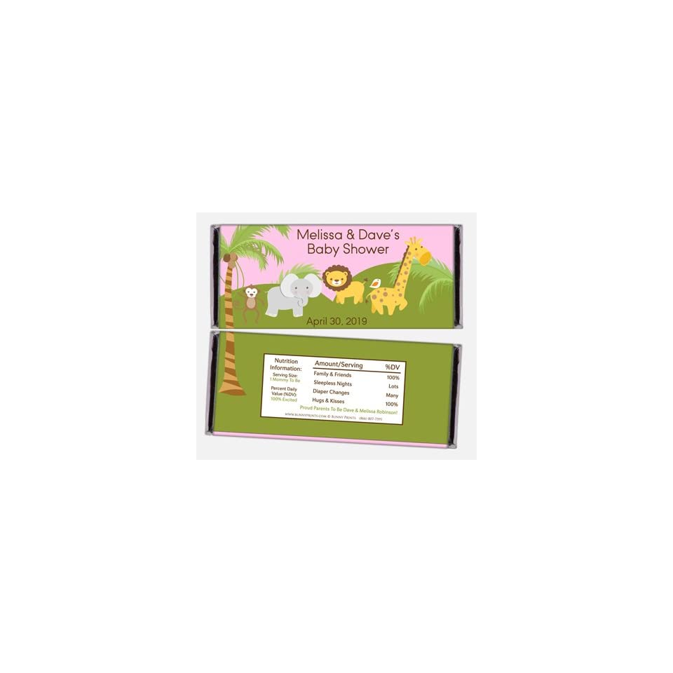 Safari Baby Shower Personalized Candy Bar Wrappers