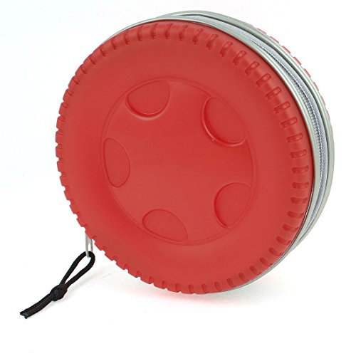 Plastic Tire Shaped Shell 32 Capacity CD DVD Holder Wallet Case Red