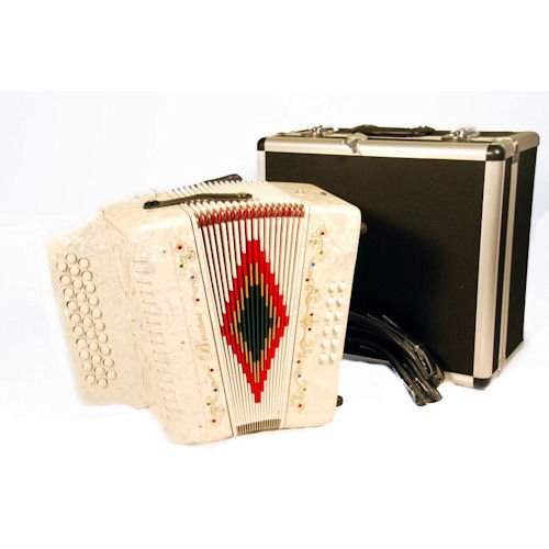 Barcelona Full Size 3 Row Button Accordion - White with Free Hardshell Carrying Case
