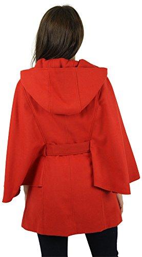 Jessica Simpson Women's Faux Wool Cape Coat Hooded Jacket Orange Size L