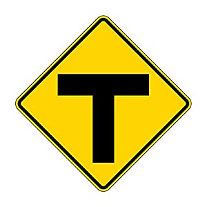 MUTCD W2-4 T-Symbol Sign, 3M Reflective Sheeting, Highest Gauge Aluminum,Laminated, UV Protected, Made in U.S.A