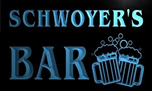 w100101 b SCHWOYER Name Home Bar Pub Beer Mugs Cheers Neon Light Sign
