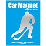 Hockey Player Male 3 Car Magnet Chrome