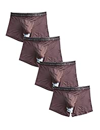 David Archy Men\'s 4 Pack Micro Modal Separate Pouches Trunks (M,Coffee)