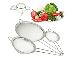 """Gypsy's Kitchen Stainless Steel Strainer. Perfect for MOTHERS DAY GIFTS! Set of 3 Fine Mesh Strainers for All of Your Sieve Needs. 4"""", 6"""" and 8"""" Diameters. A Must Have Kitchen Accessory for Healthy Eating. Quinoa Strainer , Flour Sifter, Tea Strainer. Was"""