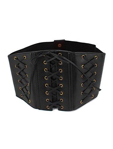 Lady Press Button Closure Elastic Waist Cinch Belt Band Black