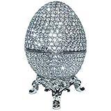 Faberge Egg Box Platinum Colored Swarovski Crystals, Silver with Stand Figurine Trinket Pill Jewelry Box