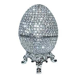 Faberge Egg Box Platinum Colored Swarovski Crystals $69.95