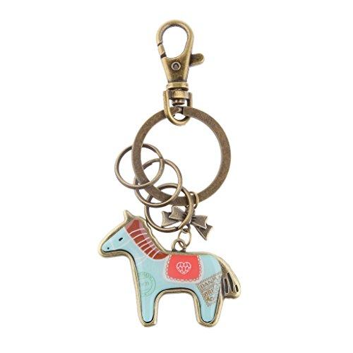 Pferd Schlüsselanhänger Anhänger Schlüsselring Handtasche Tasche Kinder Geschenk - Bronze Hellblau, Taille Unique