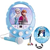 Sakar Frozen Disco Party CD+G Karaoke with Light - Kids Karaoke - Featuring Frozen - Sing Along - Sound and Lights - Play Music From iOS Device - Tablet - Or Built In CD Player - Hand Held Mic - Includes Frozen CD Disc - Connect To TV Scroll Lyrics - Includes Lyric Booklet - Plug In Or Use Batteries For On The Go - 66227