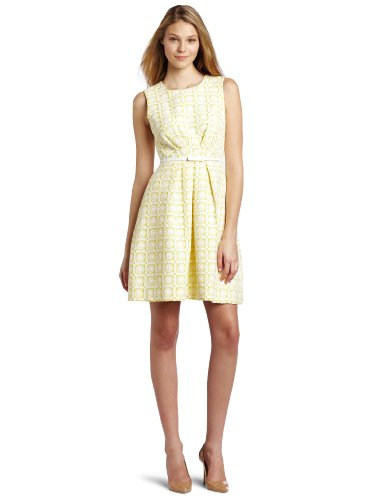 Trina Turk Women's Princess Daisy Jacquard Dress, Lemon, 10