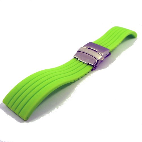 ZeitPunkt silicone Watchband with stainless steel deployment buckle, green, 22mm