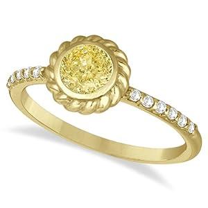 Bezel Set Yellow Canary Diamond Cocktail Ring 14k Yellow Gold (0.61ct)