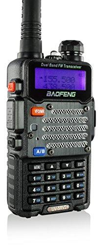 Baofeng Black Uv-5R V2+ Plus (Usa Warranty) Dual-Band 136-174/400-480 Mhz Fm Ham Two-Way Radio, Improved Stronger Case, Enhanced Features