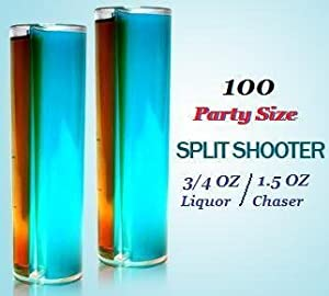 Split Shooters - Vertically Divided Plastic Shot Glasses (Party Size Split Shooter, Package of 100)