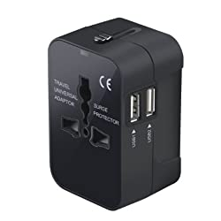 Travel Adapter, Worldwide All in One Universal Travel Adaptor Power Converters Wall AC Power Plug Adapter Power Plug Wall Charger with Dual USB Charging Ports for USA EU UK AUS Cell phone laptop