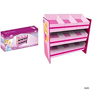 Kinderregal mit 9 Boxen Disney Princess Kindermöbel Holz Regal Kinderzimmer