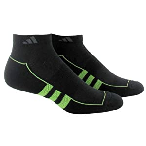 adidas Women's ClimaLite II Low Cut Sock (Pack of 2), Ray Green/Black/Black/Ray Green, One Size, Fits Shoe Size 5-10