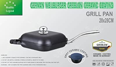 Healthy Legend Square Grill Pan (chicken fryer) with Non-stick German Weilburger Ceramic Coating, ECO Friendly Non-toxic Cookware