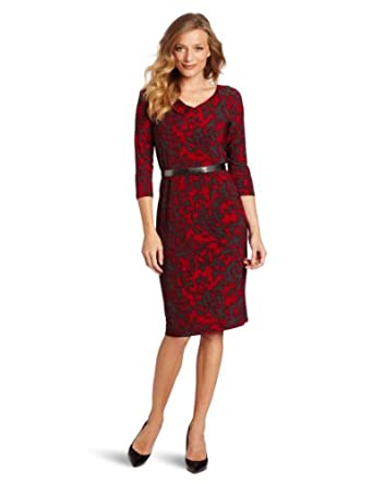 Jones New York Women's Printed Matte 3/4 Sleeve Cowl Neck Raglan Dress, Multi, 6