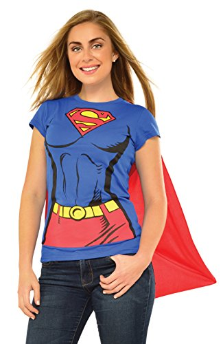 Rubie's Costume Co Women's Dc Comics Super-Girl T-Shirt With Cape, Blue, Large