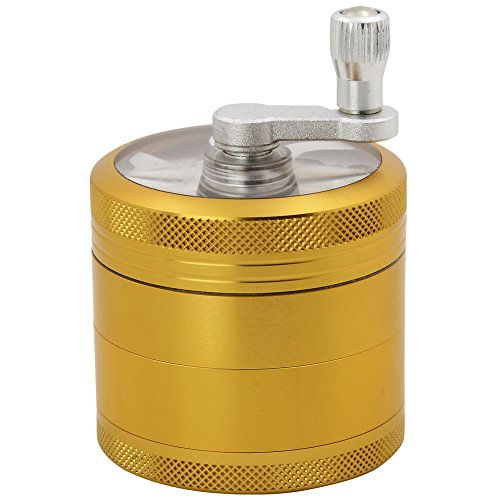 DCOU-Hand-Cranked-Premium-Grinder-Unbreakable-Aluminum-Grinder-for-Herb-Weed-and-Spice-4-Parts-22-Inch-Gold
