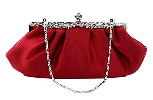 Kobwa(Tm) Wine Red Womens Evening Concise Elegant Jeweled Rhinestone Pleated Party Handbag With Kobwa'S Keyring