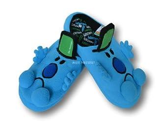 Mens Mr Men Grumpy Blue Black Novelty Non Slip Cushioned Slip On Slippers Mules (9-10)