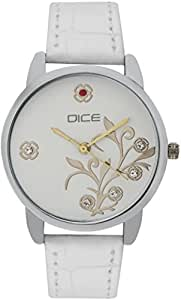 "DICE ""Grace 8814"" Fashionable, Elegant, Contemporary, Tasteful and attractive Watch for women. White Dial, Silver case and Anti allergic Leather Strap."