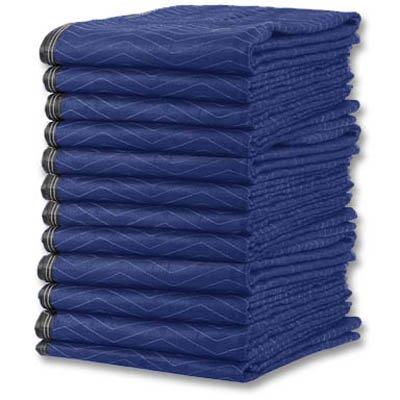 Deluxemoving Blankets (12-Pack) 72X80 In. Deluxeline Pads (63 Lbs/Dz., Blue/Black) front-914615
