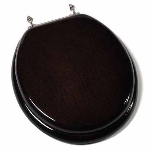 Comfort Seats C1B1R-18BN Designer Solid Wood Toilet Seat with PVD Brushed Nickel Hinges, Round, Dark Brown