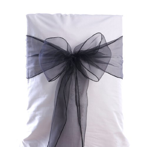 Remedios 8108inch 10pcs Organza Wedding Chair Cover Sash Bow, Black