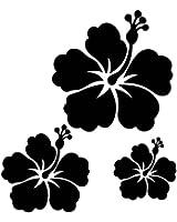 Sticker autocollant 3 fleurs d'hibiscus pour votre auto, votre frigo, vos murs... . couleur noir