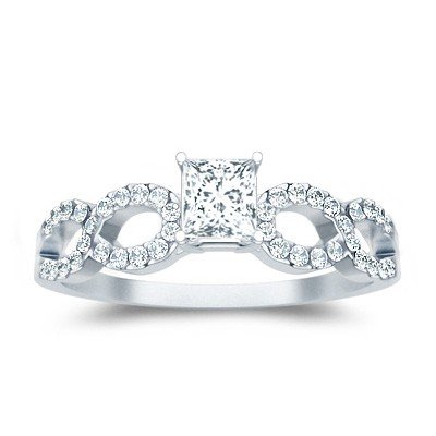 0.62 Carat Engagement Ring on Sale with Princess cut Diamond on 18K White gold