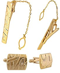 Sorella'z Luxury Opel Golden Cufflinks & Tiepin Set