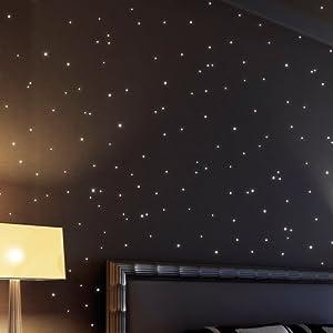 Tatuaje de Pared Loft Pegatina Fluorescente 350 Puntos Fluorescentes para Cielo de Estrellas (con 150 Estrellas brillantes + 200 Puntos) Ideal para Habitación de Niños o Dormitorio   Revisión del cliente y la descripción más