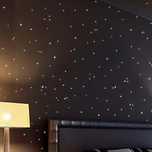 Wandtattoo Loft Sternenhimmel 350 fluoreszierende Leuchtpunkte und Leuchtsterne - selbstklebend - (150 leuchtende Sterne + 200 leuchtende Punkte) - Wandsticker mit langer Leuchtkraft, ideal für Kinderzimmer und Schlafzimmer!