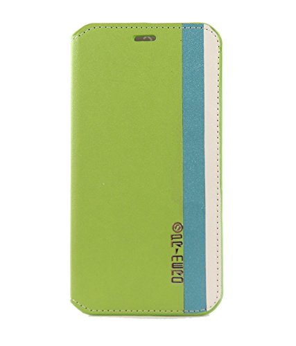 Exclusive Flip Case Cover For HTC DESIRE 816 / 816G - Lime Green In Blue And Cream Strips
