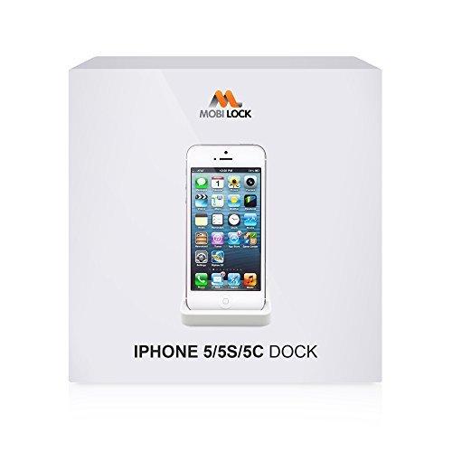 Mobi Lock Stazione di Ricarica Desktop / Caricatore per Apple iPhone SE / 5 / 5S / 5C con Lightning a 8 Pin, Porta di Compatibilità per Caricamento, Sincronizzazione e Trasferimento dei dati, di colore Bianco